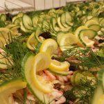 grove snitter med reker, majones og sitron
